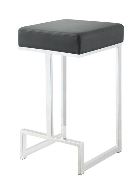 Black Leatherette Chrome Base Metal Counter Height Stool CST-105253