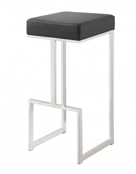 Black Leatherette Chrome Base Metal Bar Stool CST-105263