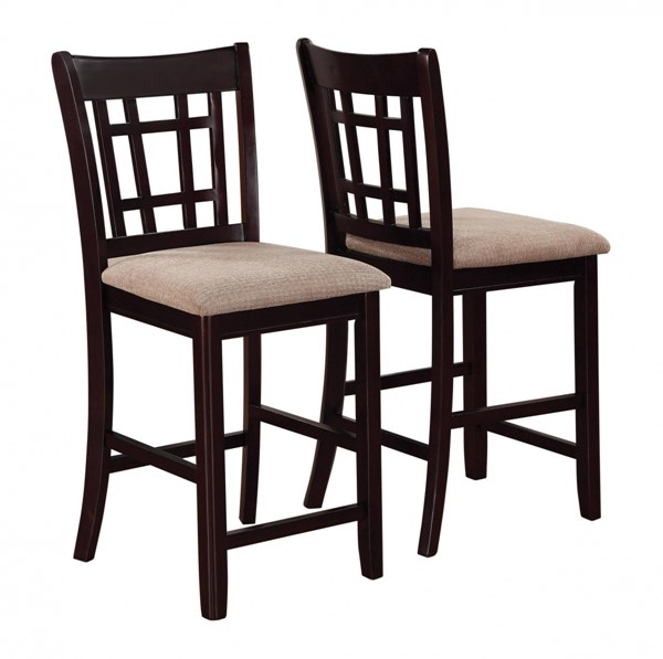 2 Lavon Transitional Chestnut Espresso Wood Counter Height Stools CST-105279