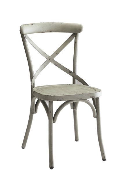 2 Nagel Green Antique Bronze & Galvanized Metal Dining Chairs CST-105314