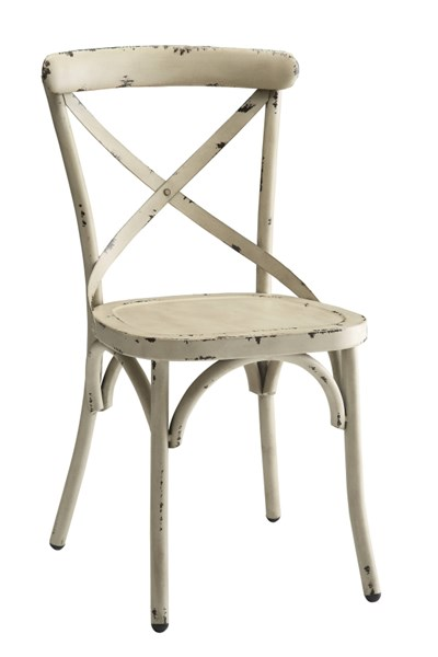 2 Nagel White Antique Bronze & Galvanized Metal Dining Chairs CST-105315