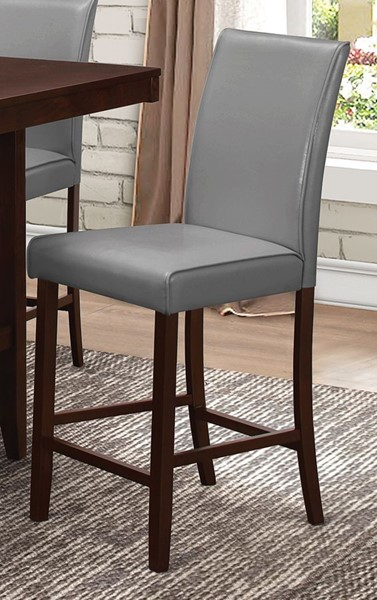 2 Fattori Transitional Grey Wood Leatherette Counter Height Chairs CST-105319