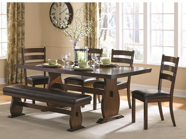 Campbell Vintage Cinnamon Wood Faux Leather 6pc Dining Room Set CST-105341-DR-S