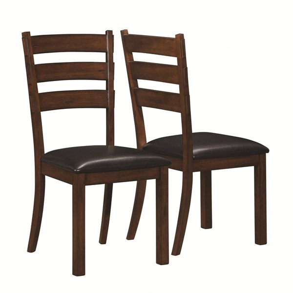 2 Campbell Country Vintage Cinnamon Wood Faux Leather Side Chairs CST-105342