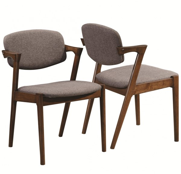 2 Malone Contemporary Walnut Wood Fabric Armless Side Chairs CST-105352