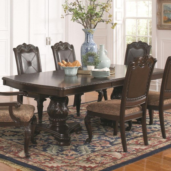 Valentina Traditional Brown Red Wood Dining Table CST-105381