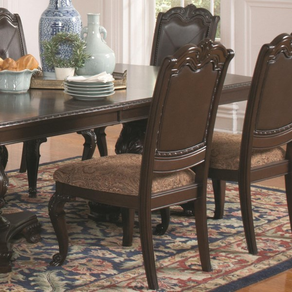 2 Valentina Traditional Brown Red Wood Fabric Side Chairs CST-105382