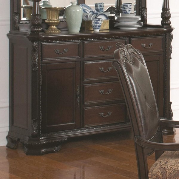 Valentina Traditional Brown Red Wood Buffet Only CST-105384B