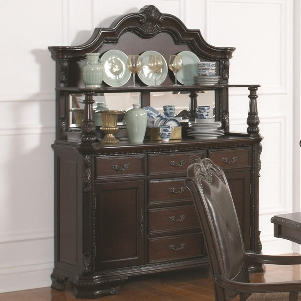 Valentina Traditional Brown Red Wood Glass Buffet/Hutch CST-105384