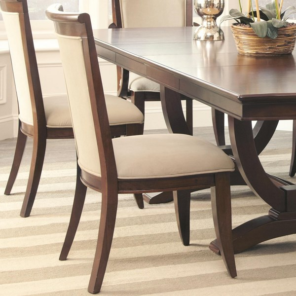 2 Alyssa Traditional Cognac Wood Fabric Side Chairs CST-105442
