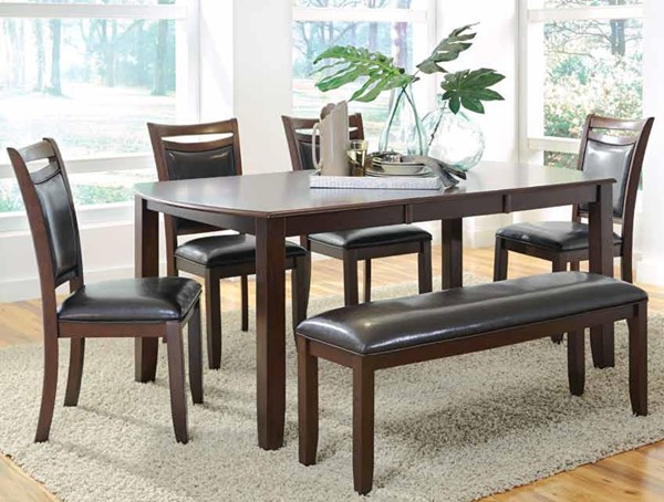Dupree Transitional Dark Brown Wood 6pc Dining Room Set CST-105471-DR-S