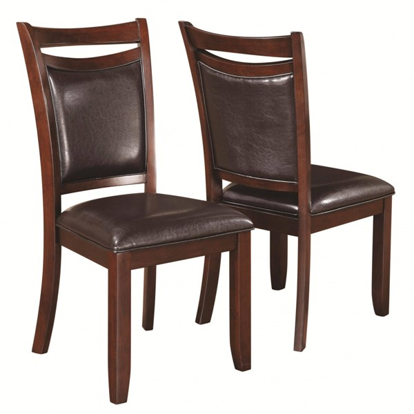 2 Dupree Transitional Dark Brown Wood Fabric Side Chairs CST-105472