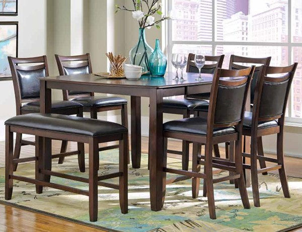 Dupree Transitional Dark Brown Wood Fabric Counter Height / Bar Set CST-105478-BAR