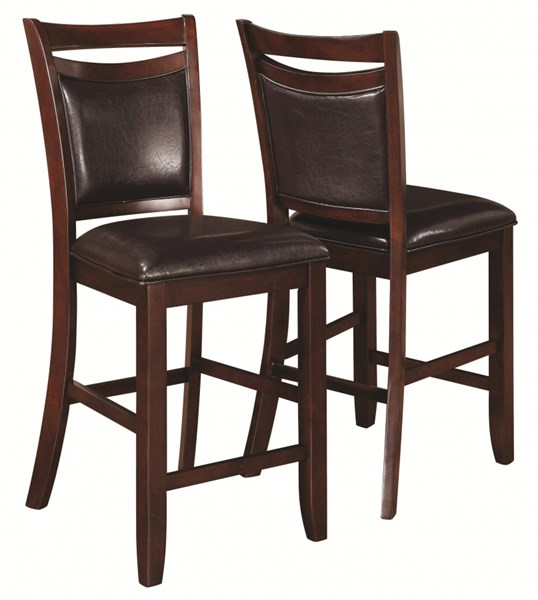 2 Dupree Transitional Dark Brown Wood Fabric Counter Height Stools CST-105479