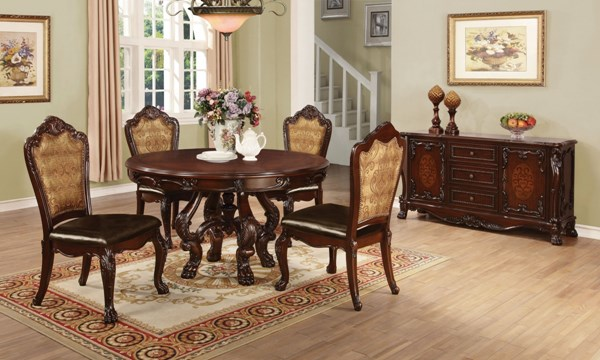 Benbrook Cherry Wood 5pc Dining Room Set w/Round Dining Table CST-1055-DR-S1