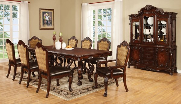 Benbrook Cherry Wood 9pc Dining Room Set w/Rectangle Dining Table CST-1055-DR-S2