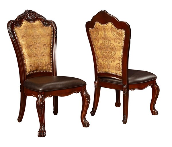 2 Benbrook Traditional Dark Cherry Wood Faux Leather Side Chairs CST-105512