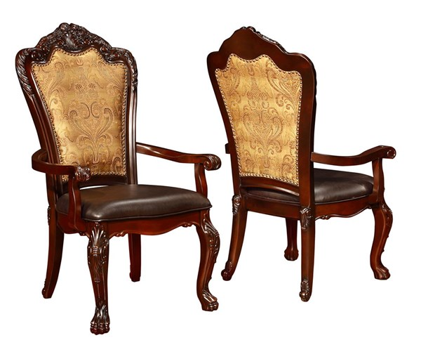 2 Benbrook Traditional Dark Cherry Wood Faux Leather Arm Chairs CST-105513
