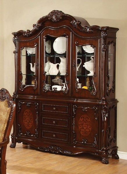 Benbrook Traditional Dark Cherry Wood Buffet & Hutch CST-105514