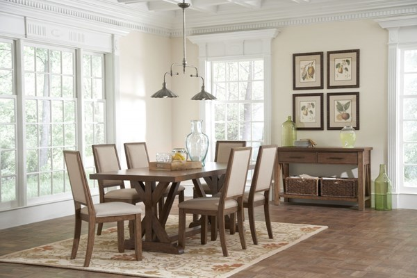 Bridgeport Weathered Acacia Wood Fabric Dining Room Set CST-10552-DR