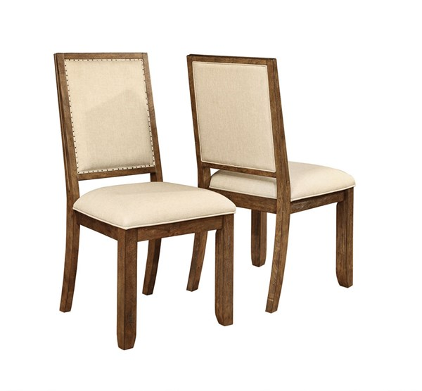 2 Bridgeport Weathered Acacia Wood Fabric Side Chairs CST-105522
