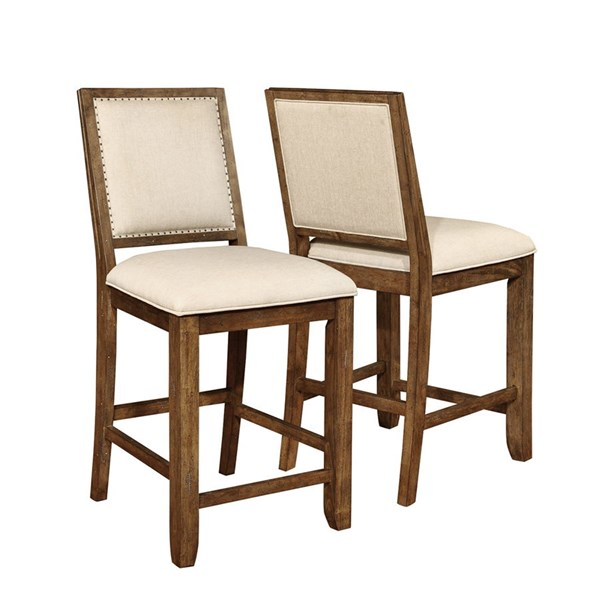 2 Bridgeport Weathered Acacia Wood Fabric Counter Height Chairs CST-105529