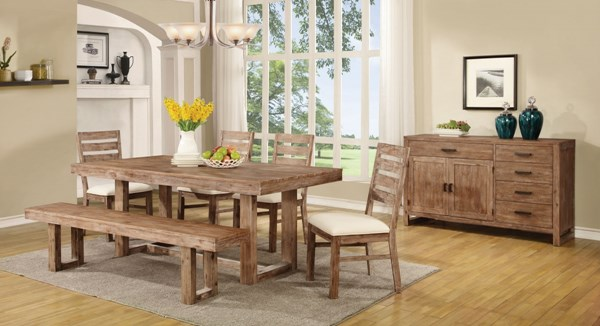 Elmwood Wire Brushed Nutmeg Wood Fabric 6pc Dining Room Set CST-105541-DR-S1