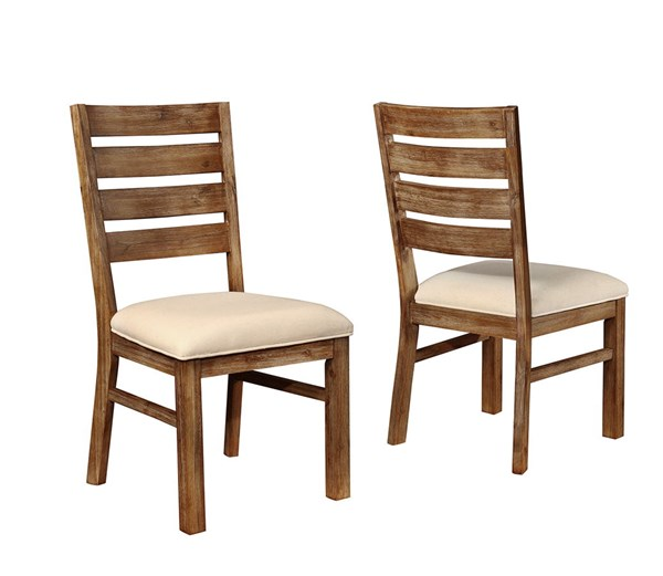 2 Elmwood Wire Brushed Nutmeg Wood Fabric Side Chairs CST-105542