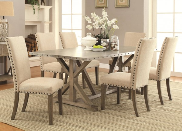 Webber Transitional Driftwood Wood 7pc Dining Room Set CST-105571-DR-S