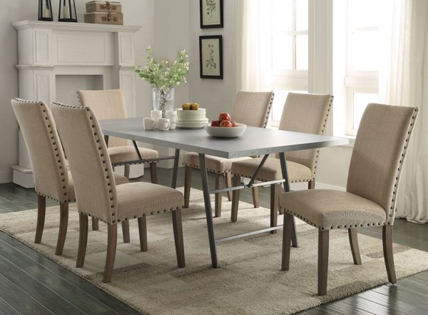 Webber Rustic Natural Wood Fabric Dining Room Set CST-105581-DR