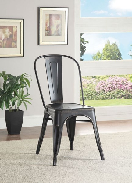 4 Bellevue Rustic Metal Armless Dining Chairs CST-10561-DC-VAR