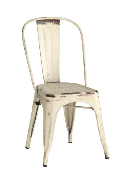 4 Bellevue Rustic White Metal Dining Chairs CST-105615