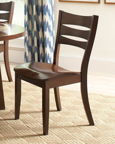 2 Byron Tropical Dark Brown Wood Ladder Back Dining Chairs CST-105632