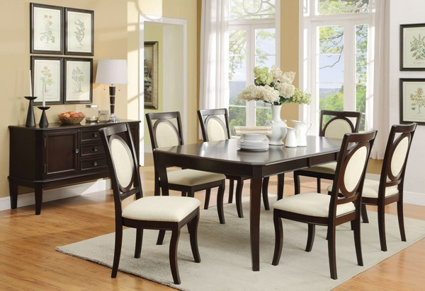 Crest Hill Modern Cherry Wood Fabric 7pc Dining Room Set CST-10567-DR-S1