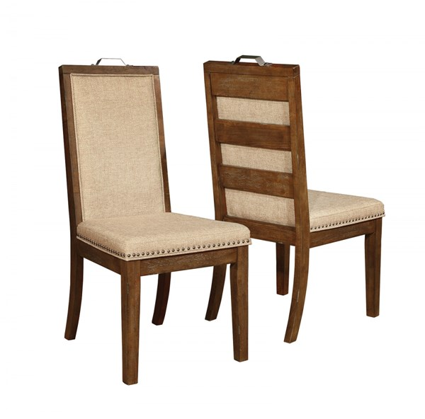 2 Arcadia Weathered Acacia Wood Fabric Side Chairs CST-105682