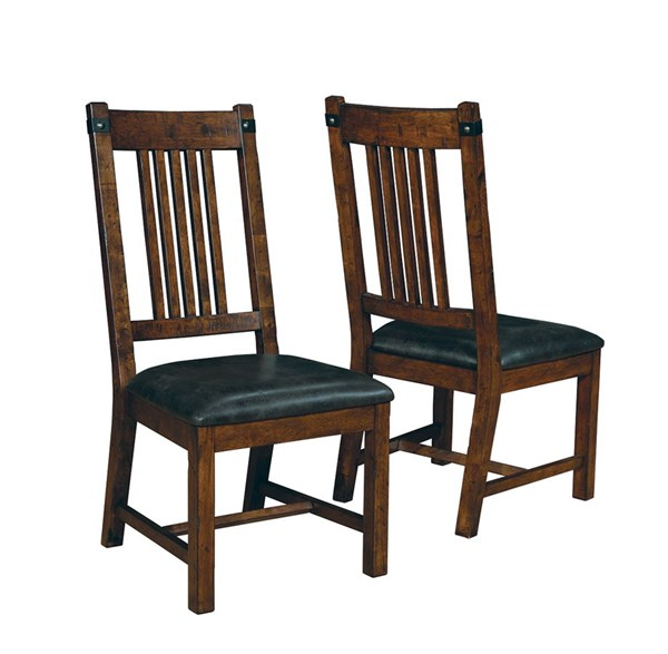 2 Padima Rustic Cognac Wood Faux Leather Side Chairs CST-105702