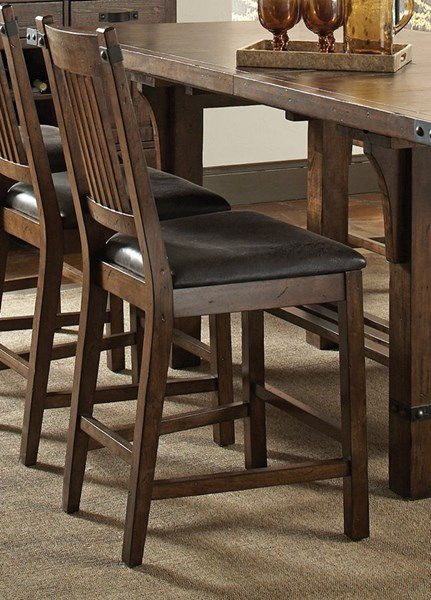 2 Padima Rustic Cognac Wood Counter Height Chairs CST-105709