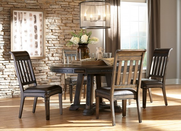Carlsbad Wood Faux Leather 5pc Dining Room Set w/Round Dining Table CST-10573-DR-S1