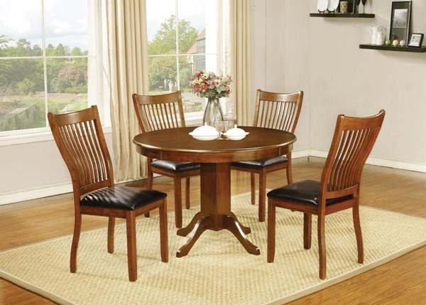 Sierra Amber Wood Faux Leather 5pc Dining Room Sets CST-10574-DR-S
