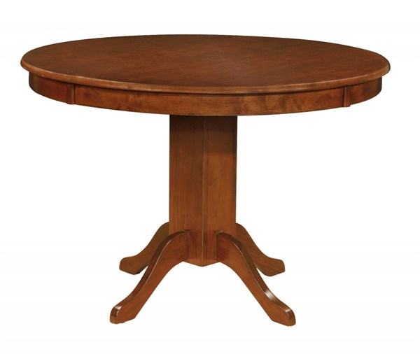 Sierra Amber Wood Solid Top Round Pedestal Table CST-105740