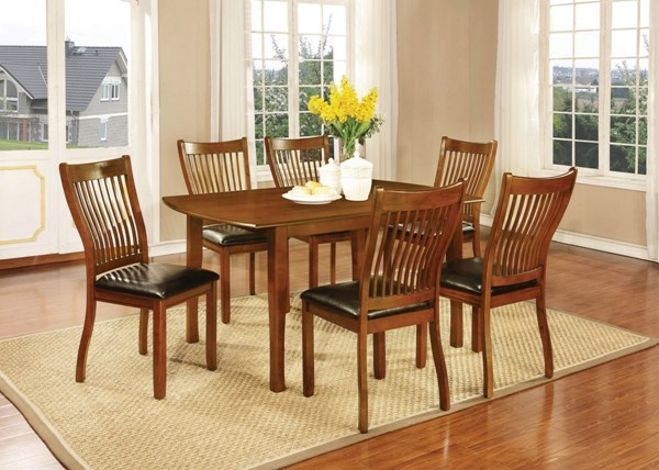 Sierra Amber Wood 7pc Dining Room Set W/Rectangle Dining Table CST-10574-DR-S2