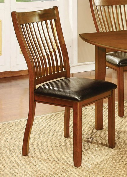 2 Sierra Amber Brown Wood Faux Leather Chairs CST-10574-DC-VAR