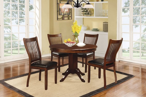 Sierra Brown Wood 5pc Dining Room Set W/Round Dining Table CST-10575-DR-S1