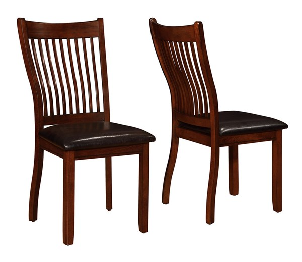 2 Sierra Brown Wood Faux Leather Slat Back Chairs CST-105752