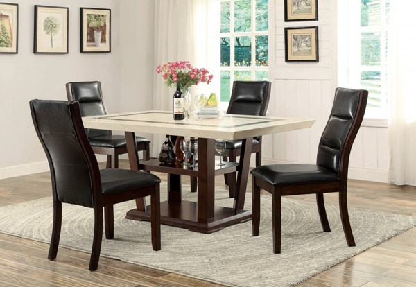 Lacombe Transitional Cappuccino Wood Dining Room Set CST-105841-BNDL
