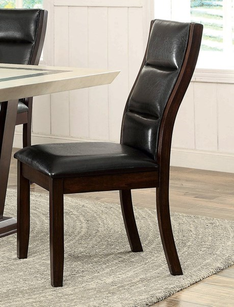 2 Lacombe Transitional Cappuccino Wood Leatherette Dining Chairs CST-105842
