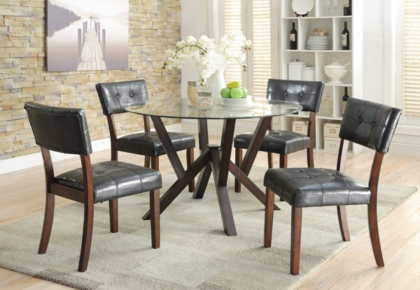 Beaux Cappuccino Glass Wood Dining Room Set CST-105850-BNDL