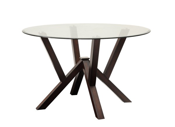 Beaux Cappuccino Glass Wood Round Dining Table CST-105850