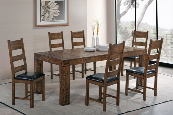 Murillo Rustic Honey Wood 7pc Dining Room Set CST-106001-62