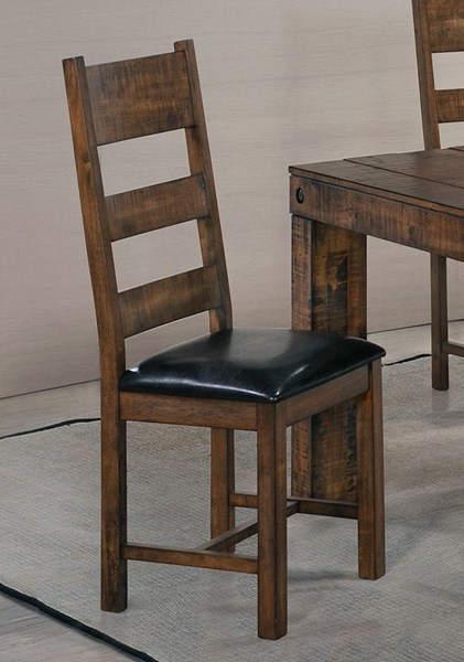 2 Murillo Rustic Honey Wood Leatherette Dining Chairs CST-106002